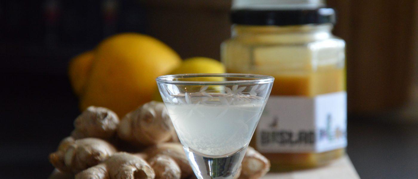 Ingefærshot med honning, citron og timian